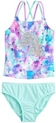 Girls 4-16 SO Magic Unicorn Flip Sequins Tankini and Bottoms Swimsuit Set