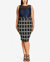 City Chic Plus Size Printed Pencil Skirt