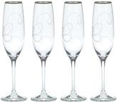Mikasa Love Story Platinum Flute Glasses, Set of 4