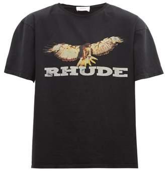 Rhude Eagle-print Cotton T-shirt - Mens - Black