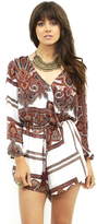 Reverse Day in the Sun Playsuit in White/Brown Print