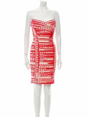 Herve Leger Printed Mini Dress w/ Tags Red