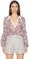 Giambattista Valli Printed Silk Georgette & Crepe Shirt