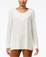 Style&Co. Style & Co Petite Lace-Appliqué Top, Only at Macy's