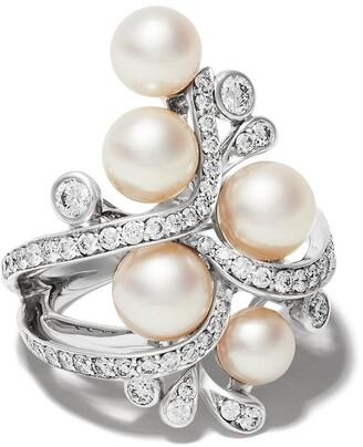 Yoko London 18kt white gold Raindrop Akoya Pearl and diamond ring
