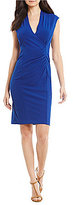 Calvin Klein Petite V-Neck Faux-Wrap Sheath Dress