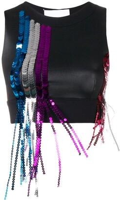 NO KA 'OI No Ka' Oi sports bra with sequinned fringe