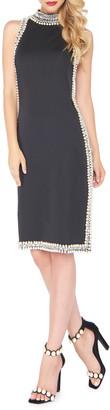 Mac Duggal High-Neck Sleeveless Cocktail Dress w/ Beaded Pearlescent Trim