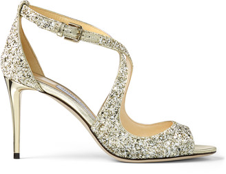 Jimmy Choo EMILY 85 Moon Sand Infinity Glitter Fabric Sandals