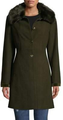 Laundry by Shelli Segal Faux Fur-Trim Wool-Blend Coat