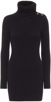 Saint Laurent Ribbed-knit camel hair mini dress