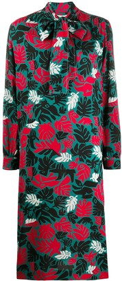 Marni Foliage Print Pussy-Bow Shift Dress