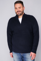 Yours Clothing BadRhino Navy Knitted Jumper With Zip Funnel Neck