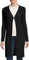 Neiman Marcus Ribbed Coverup Cardigan, Black