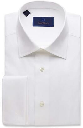 David Donahue Regular Fit Micro Birdseye Dress Shirt w/ French Cuffs (White) Men's Clothing
