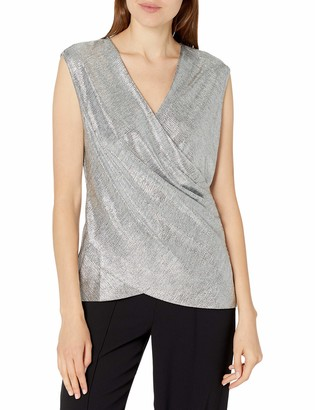 Ramy Brook Women's Rumi Foil Crossover Sleeveless Top