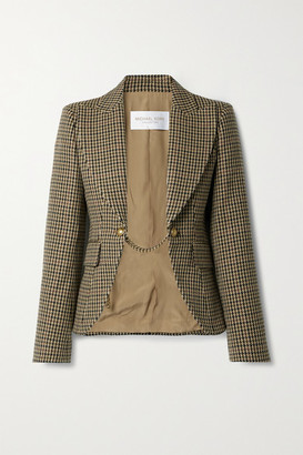 Michael Kors Collection Chain-embellished Houndstooth Wool Blazer - Brown