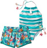 Big Chill Girls 4-6x Striped One-Piece Swimsuit & Tropical Shorts Set
