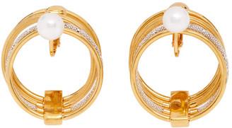 Panconesi Gold Pearl Solar Earrings