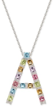 """Macy's Multi-Gemstone (3-1/5 ct. t.w.) Initial 18"""" Pendant Necklace in Sterling Silver"""