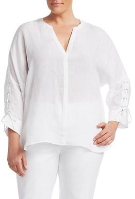 NIC+ZOE, Plus Size Lace-Up Linen Top
