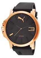 Puma Men's PU102941005 Ultrasize 50 Rose Gold Analog Display Japanese Quartz Black Watch