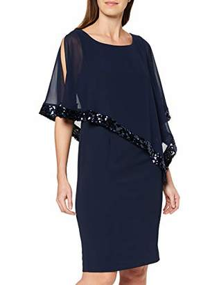 Gina Bacconi Women's Sequin Trim Crepe and Chiffon Dress