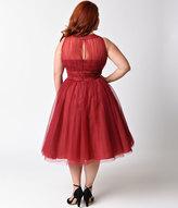 Unique Vintage Plus Size 1950s Style Burgundy Halter Roosevelt Swing Dress