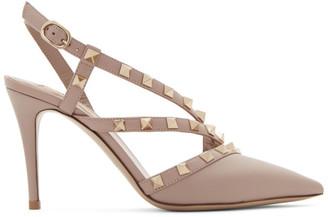 Valentino Pink Garavani Rockstud Slingback 90 Heels