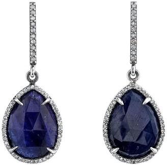Sheryl Lowe Sapphire Teardrop Earrings With Pave Diamonds