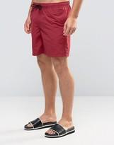 Asos Swim Shorts In Dark Red Mid Length