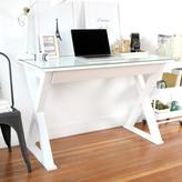 Walker Edison Furniture Company Home Office 48 in. Glass and Metal White Computer Desk