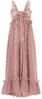 Thierry Colson Valentina Striped Cotton-poplin Maxi Dress - Brown Stripe