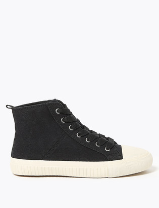 Marks and Spencer Canvas Lace Up High Top Trainers