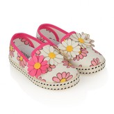 Girls White & Pink Daisy Applique Shoes