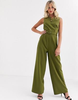 Paper Dolls tie waist wide leg jumpsuit in olive-Green