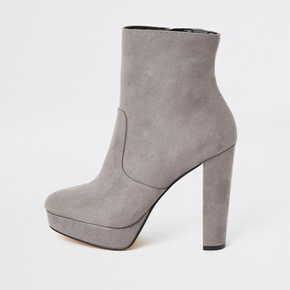 River Island Grey suedette wide fit platform ankle boots