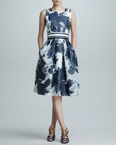 Carolina Herrera Floral Jacquard Organza Dress, Blue