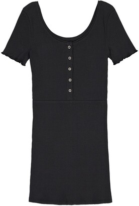 La Redoute Collections Cotton Short-Sleeved Fitted Dress, 10-16 Years
