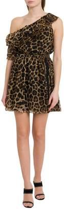 Saint Laurent One-shoulder Dress With Leopard Print