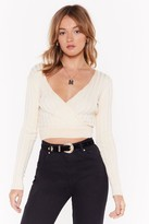 Nasty Gal Womens On Wrap Knit Crop Top - white - 14