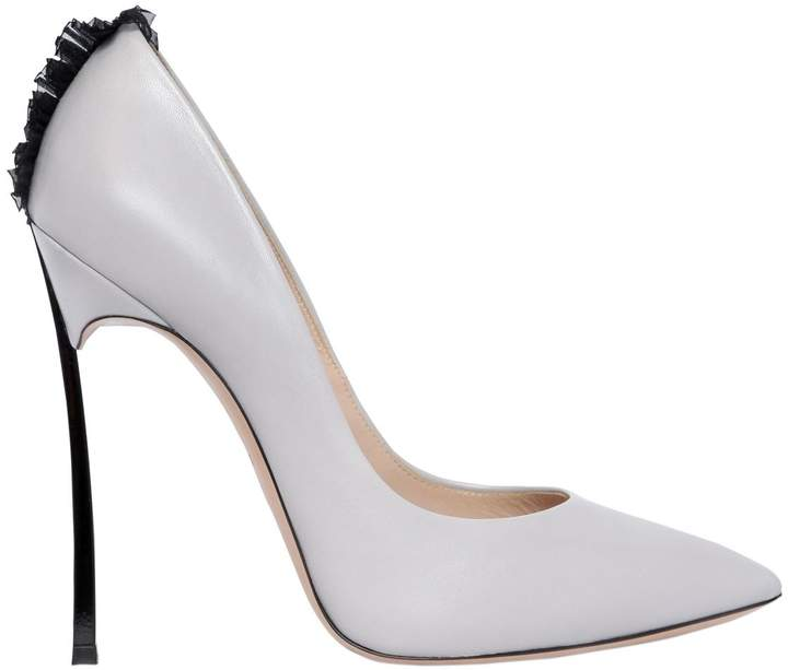 Casadei 120mm Blade Tulle Detail Leather Pumps