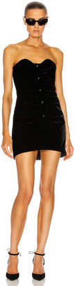 Saint Laurent Strapless Mini Dress in Noir | FWRD