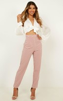 Showpo That Girl He Talks About Pants In blush gingham - 14 (XL)