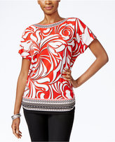 JM Collection Printed Dolman-Sleeve Top, Only at Macy's