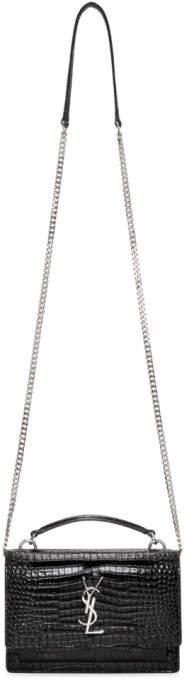 Saint Laurent Black Croc Sunset Monogramme Chain Bag