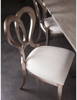 Artistica Home Signature Designs Linen Upholstered Queen Anne Back Side Chair in Warm Silver Leaf