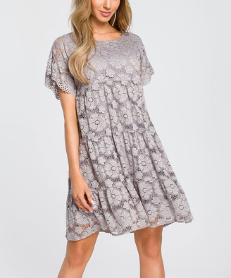 Made Of Emotion Women's Casual Dresses grey - Gray Floral Lace Empire-Waist Dress - Women