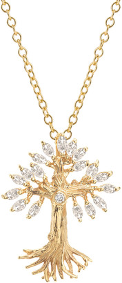 Michael Aram Armenian Tree of Life Marquise Diamond Cross Necklace