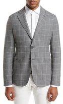 Giorgio Armani Upton Windowpane Check Two-Button Blazer, Gray